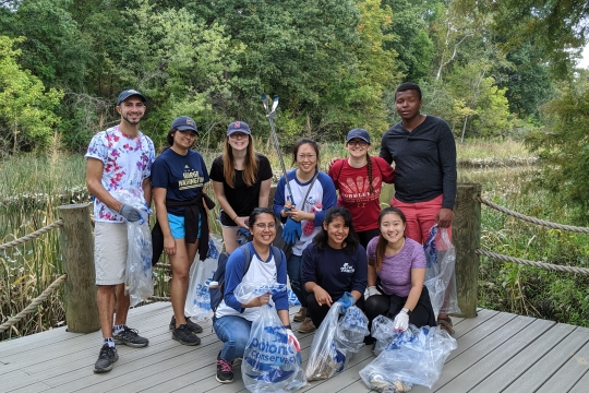 GWTeach PBL students volunteering at the Potomac Conservancy cleanup in October.